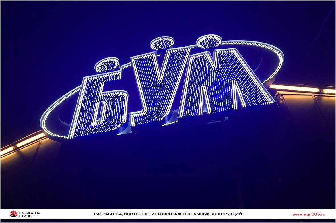объемные буквы с открытыми светодиодами